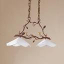 Rustic Style Flower Pendant Light 2 Lights Metal Fabric Island Light with Bird Decoration for Balcony