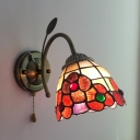 Flower Stair Foyer Wall Light Stained Glass 1 Light Antique Style Sconce Light with Pull Chain
