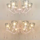 Living Room Cone Shade Chandelier Glass 6/8 Lights Traditional White Pendant Light with Clear Crystal