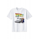 BACK TO THE X FILES Letter Cartoon Couple Car Printed White Round Neck Short Sleeve Tee