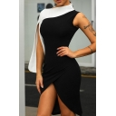 Black and White Colorblock Patchwork Split Sleeve Mini Asymmetric Dress