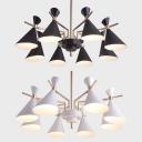 Metal Horn Ceiling Light 8 Lights Contemporary Chandelier in Macaron Black/White for Living Room