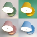 Macaron Color Tapered Sconce Light Rotatable Modern Metal Wall Light for Bedroom Study