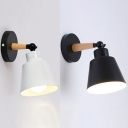 Bedroom Hotel Bucket Wall Light Metal 1 Light Simple Style Black/White Sconce Light with Adjustable Angle