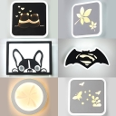 Creative Animal/Plant Wall Light Acrylic Black/White Sconce Light for Hallway Girl Boy Bedroom