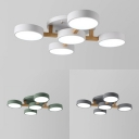 Living Room Round Semi Flush Ceiling Light Acrylic 5 Lights Modern Gray/White/Green Ceiling Fixture in White/Warm