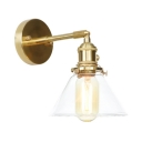 1/2 Pack Industrial Brass Wall Lamp Cone Shade 1 Light Clear Glass Wall Sconce for Kitchen