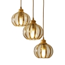 Clear Textured Glass Melon Suspension Light Dining Room 3 Lights Antique Style Ceiling Lamp with Round/Linear Canopy