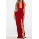 Hot Fashion Sexy Plunge Neck Sleeveless Backless Plain Cutout Split Detail Floor Length Swing Dress