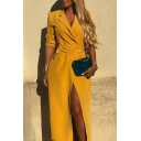 Fashion Lapel Collar Long Sleeve Plain Belt Button Detail Split Hem Midi Shirt Yellow Dress