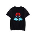 Trendy Comic Anime Character Cloud Print Summer Basic Round Neck Short Sleeve T-Shirt
