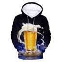 Stylish Unique Beer 3D Printed Long Sleeve Casual Relaxed Unisex Drawstring Hoodie