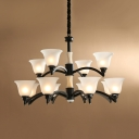 Villa Bell Shade Suspension Light Frosted Glass 2-Tier 12 Lights Antique Style White Chandelier
