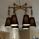 Rustic Black/Flaxen/White Chandelier Bucket Shade 6 Lights Fabric Wood Pendant Light for Bar