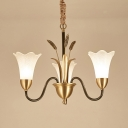 Rustic Style Brass Pendant Light Flower Shade 3 Lights Frosted Glass Chandelier with Leaf for Bedroom