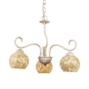 Globe Shade Living Room Chandelier Glass Metal 3 Lights Mosaic Hanging Lamp in Yellow