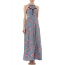 Women's Fashion Sexy Sleeveless Bow Backless Floral Printed Maxi Beach Dress