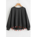 Gray Round Neck Long Sleeves Tassel Embellished Asymmetric Hem Pullover Sweatshirt