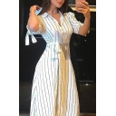 Hot Fashion Lapel Collared Bow Short Sleeve Stripes Printed Button-Front Bow-Tied Waist Maxi Shirt White Dress