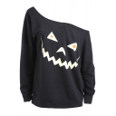 Halloween Cartoon Egg Pumpkin Printed One Shoulder Long Sleeve Black Sweatshirt