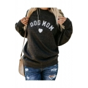 DOG MOM Letter Heart Printed Round Neck Long Sleeve Sweatshirt