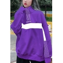WINTER Letter Colorblock Stripe Printed Stand Collar Long Sleeve Oversized Sweatshirt