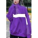 WINTER Letter Colorblock Stripe Printed Stand Collar Long Sleeve Oversized Sweatshirt