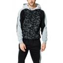 Guys New Fashion Letter Graffiti Printed Long Sleeve Casual Loose Black Hoodie
