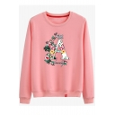 WHAT A LOVELY Letter Floral Printed Round Neck Long Sleeve Cotton Sweatshirt