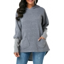 Gray Patched Long Sleeve Pockets Plain Asymmetric Hem Hoodie
