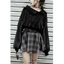 Girls New Fashion Oblique Shoulder Turn Down Collar Long Sleeve Black Velvet Sweatshirt