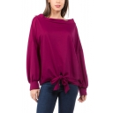 Womens Rose Red Simple Solid Color Long Sleeve Tied Hem Pullover Casual Sweatshirt
