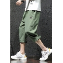 Guys Summer New Trendy Basic Solid Color Velcro Cuff Loose Fit Cropped Trousers Pants