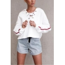 Womens New Trendy Striped Long Sleeve Lace-Up Collar White Loose Hoodie