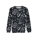 Creative Funny Cartoon Star Moon Sun Printed Round Neck Long Sleeve Black Sweatshirt