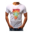 Cool Unique Letter JUST DO IT Printed Basic Round Neck Short Sleeve T-Shirt