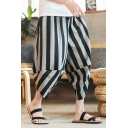 Men's Summer Chinese Style Vertical Stripe Printed Casual Loose Linen Beach Cropped Pants