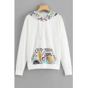 New Fashion Cartoon Bulb Printed Long Sleeve White Drawstring Hoodie