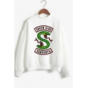 Trendy Letter SOUTH SIDE Snake Logo Printed Long Sleeve Mock Neck White Sweatshirt