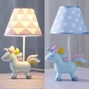 Resin Cartoon Unicorn Desk Light Child Bedroom 1 Light Lovely Dimmable LED Study Light in Blue