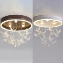 Girl Bedroom Pigeon Ceiling Lamp Acrylic Third Gear Art Deco Coffee/White LED Flush Light