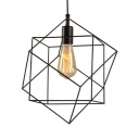 Metal Cage Suspension Light 1 Light Vintage Style Pendant Lighting in Black for Restaurant Bar