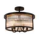 Living Room Candle Semi Flush Light with Drum Shade 4 Lights American Rustic Black Ceiling Lamp