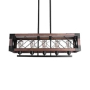 Vintage Style Square Cage Ceiling Pendant Wood 5 Lights Island Light for Dining Room