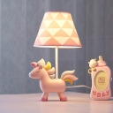 Resin Cartoon Unicorn Desk Light Dimmable 1 Light Cute LED Reading Lamp in Pink for Kid Bedroom