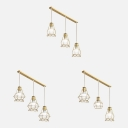 Simple Style Gold Pendant Light with Wire Frame 3 Lights Metal Island Pendant for Cloth Shop