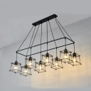 8 Lights Rectangle Pendant Light with Square Cage Antique Metal Ceiling Pendant in Black/Gold/Red for Dining Room