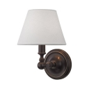 Industrial Tapered Shade Sconce Light Metal 1 Light Black & White Wall Light for Villa