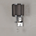 Fabric Cylinder Wall Light with Crystal 1 Light Modern Sconce Light in Polished Chrome for Hotel