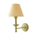 Rustic Style Tapered Shade Wall Light Fabric Metal 1 Light Wall Lamp for Restaurant Hallway